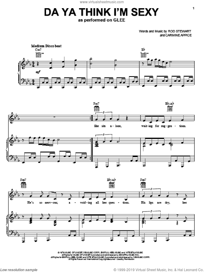 Da Ya Think I'm Sexy sheet music for voice, piano or guitar by Glee Cast, Miscellaneous, The Warblers, Carmine Appice and Rod Stewart, intermediate skill level