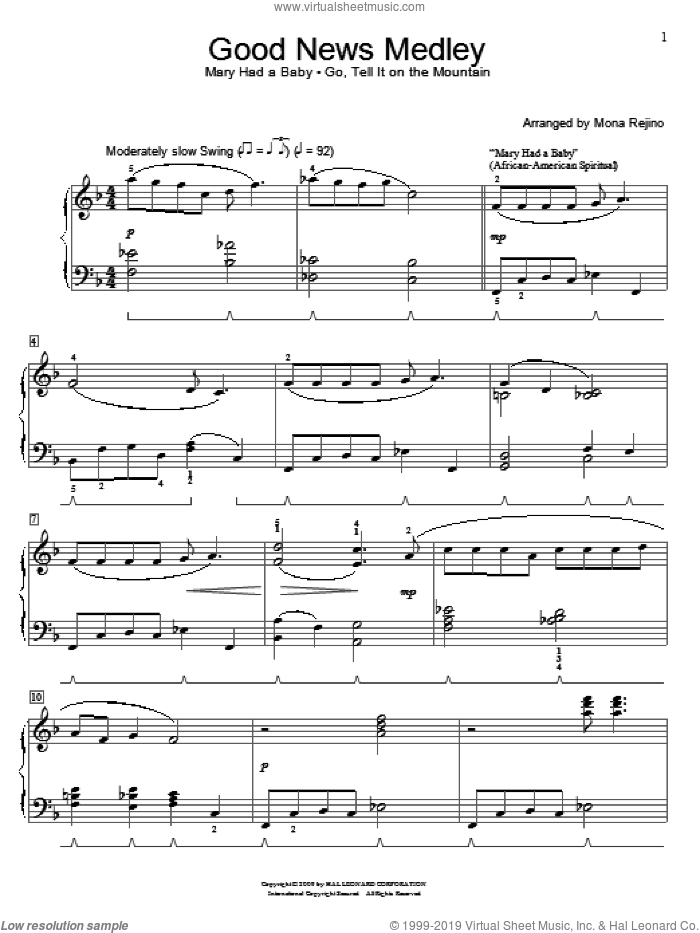 Good News Medley sheet music for piano solo (elementary) by John W. Work, Jr., Miscellaneous and Mona Rejino. Score Image Preview.