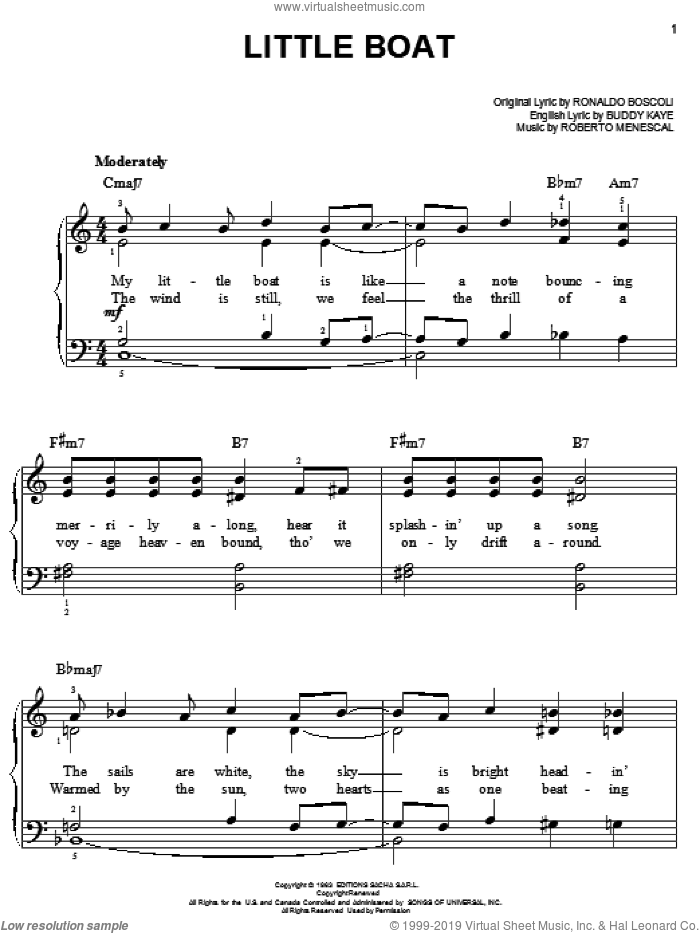 Little Boat sheet music for piano solo by Buddy Kaye, Roberto Menescal and Ronaldo Boscoli, easy skill level