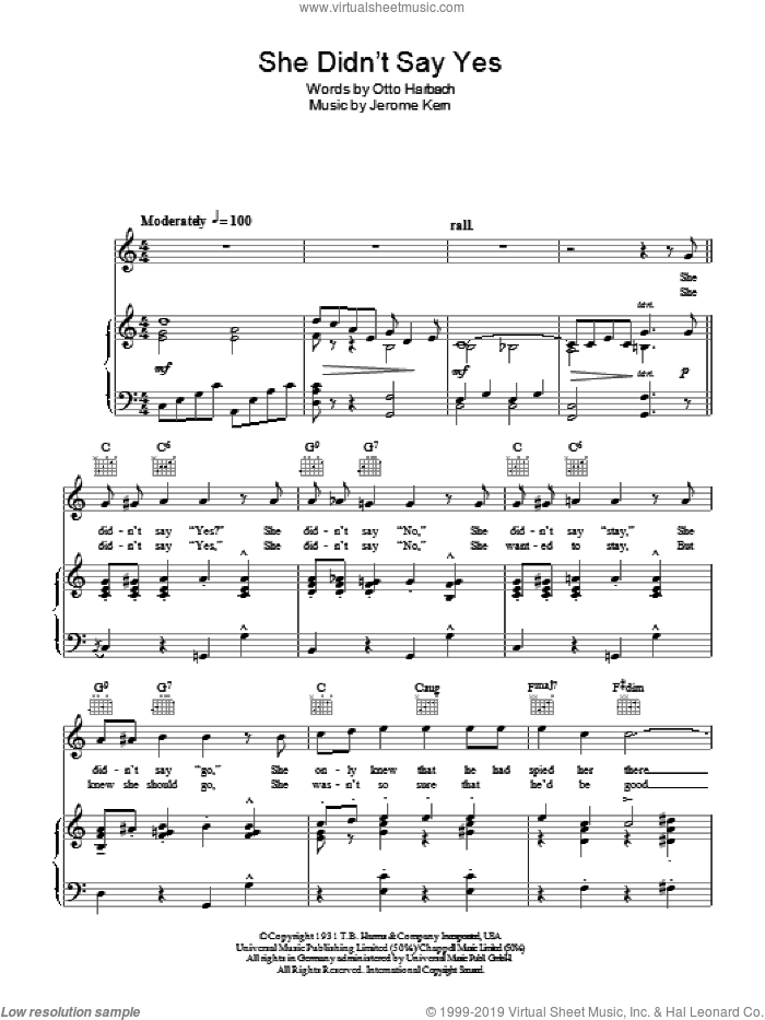 She Didn't Say Yes sheet music for voice, piano or guitar by Steve Lawrence, Peggy Lee, Jerome Kern and Otto Harbach, intermediate. Score Image Preview.