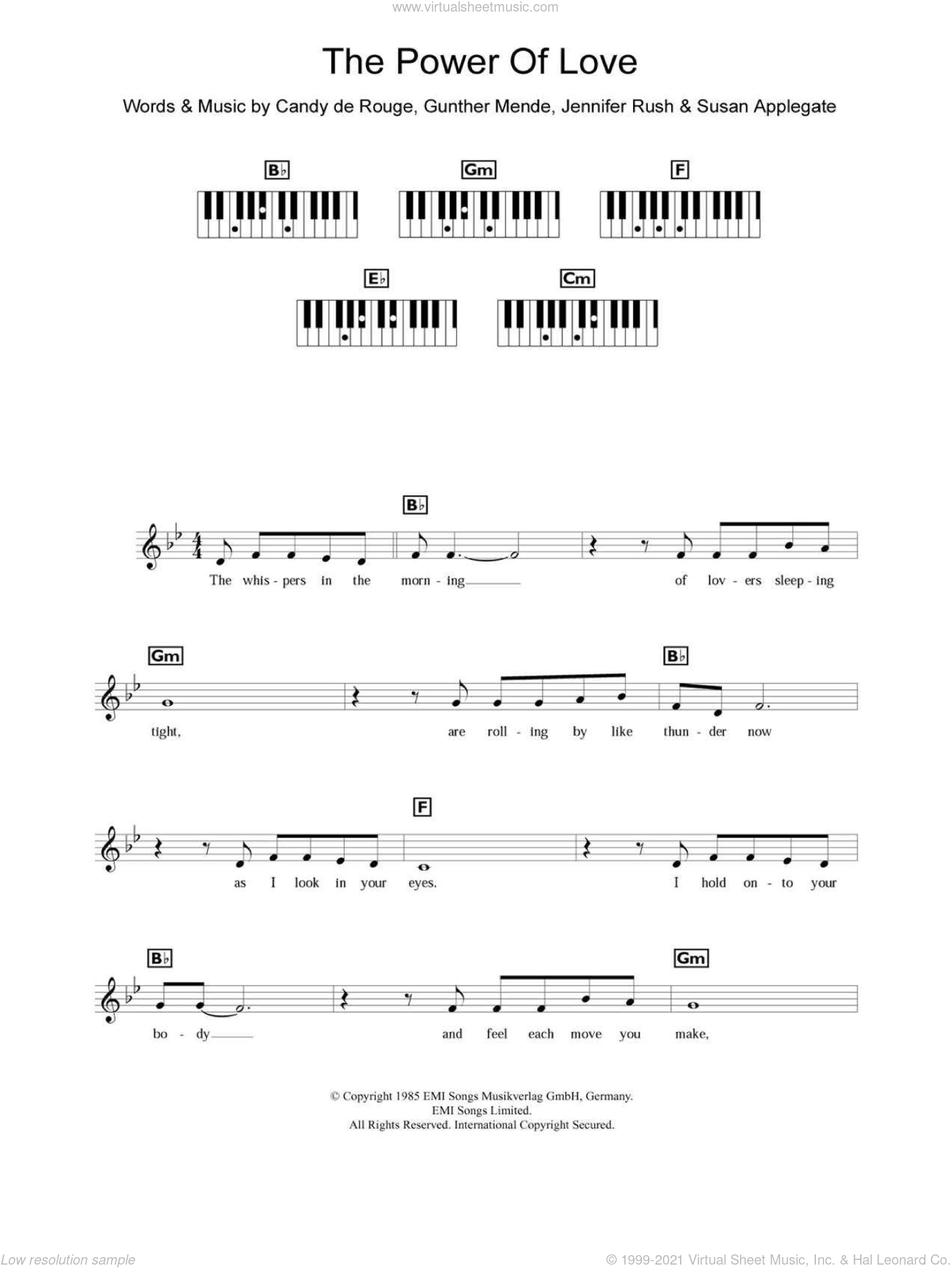 The Power Of Love sheet music for piano solo (chords, lyrics, melody) by Mary Susan Applegate, Celine Dion and Jennifer Rush. Score Image Preview.