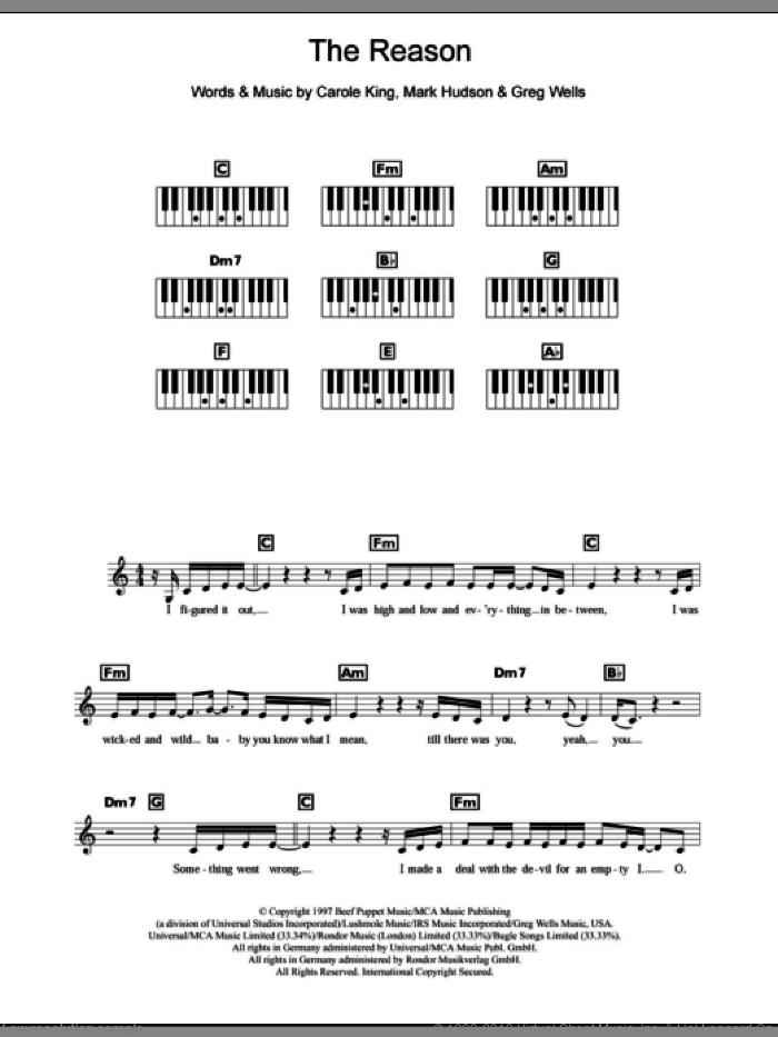 The Reason sheet music for piano solo (chords, lyrics, melody) by Celine Dion, Carole King, Greg Wells and Mark Hudson, intermediate piano (chords, lyrics, melody). Score Image Preview.