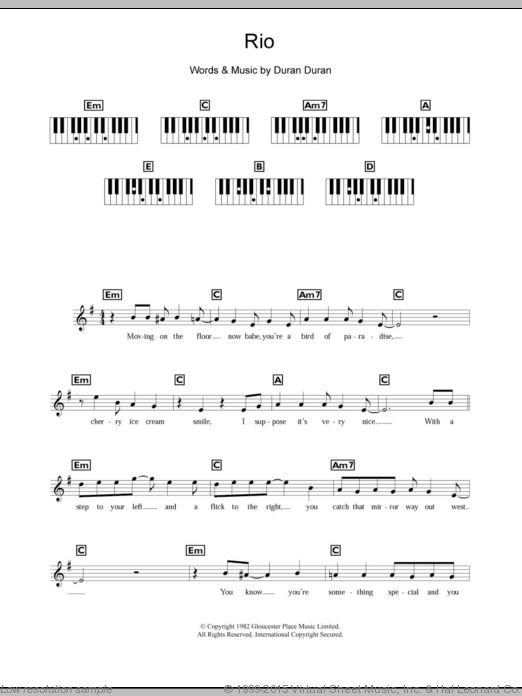 Rio sheet music for piano solo (chords, lyrics, melody) by Duran Duran