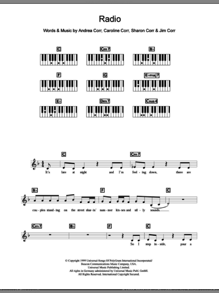 Radio sheet music for piano solo (chords, lyrics, melody) by The Corrs and Andrea Corr, intermediate piano (chords, lyrics, melody). Score Image Preview.