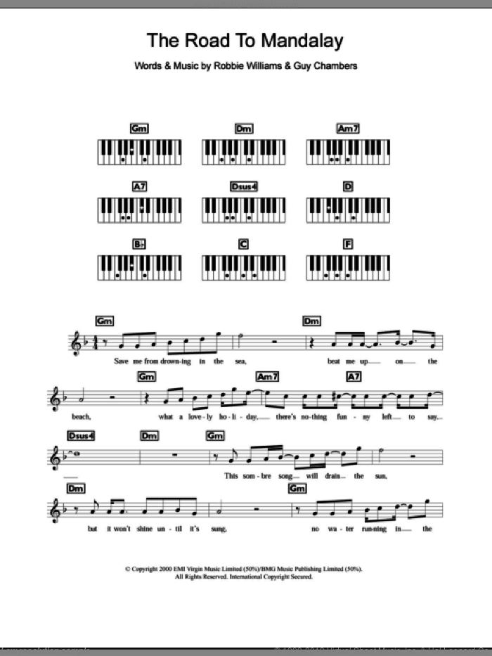 The Road To Mandalay sheet music for piano solo (chords, lyrics, melody) by Robbie Williams and Guy Chambers, intermediate piano (chords, lyrics, melody)