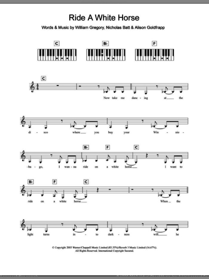 Ride A White Horse sheet music for piano solo (chords, lyrics, melody) by Goldfrapp, intermediate piano (chords, lyrics, melody). Score Image Preview.