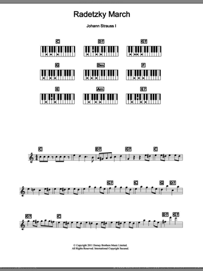 Radetzky March Op. 228 sheet music for piano solo (chords, lyrics, melody) by Johann Strauss