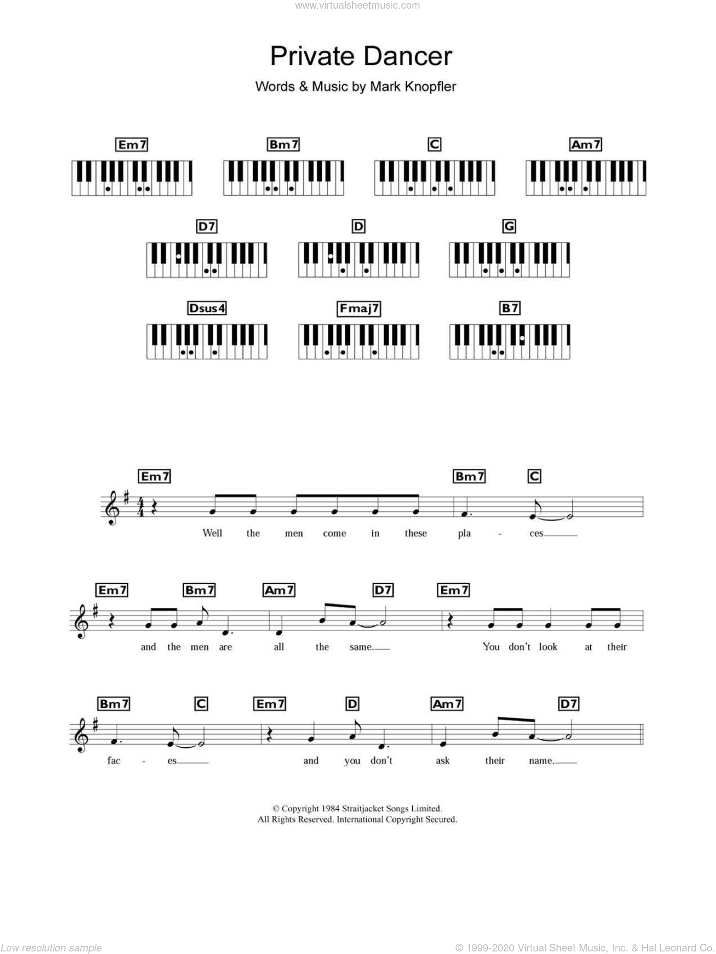 Private Dancer sheet music for piano solo (chords, lyrics, melody) by Mark Knopfler
