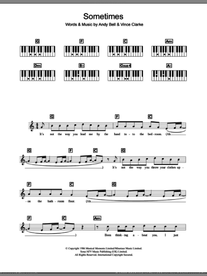Sometimes sheet music for piano solo (chords, lyrics, melody) by Vince Clarke, Erasure and Andy Bell. Score Image Preview.