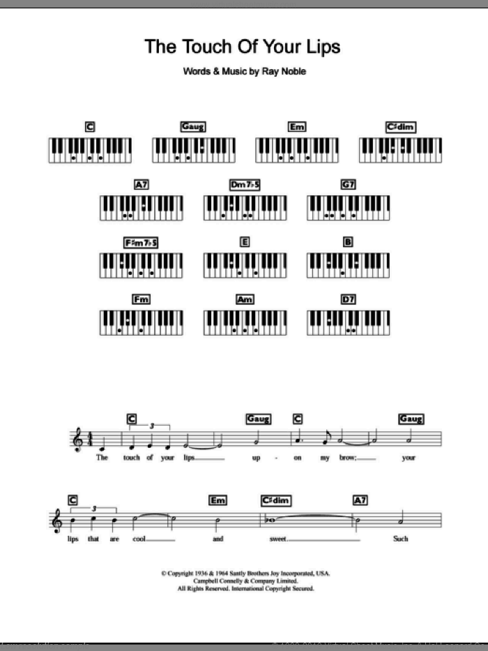 The Touch Of Your Lips sheet music for piano solo (chords, lyrics, melody) by Ray Noble