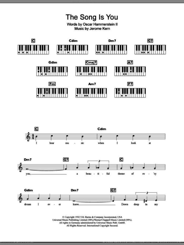 The Song Is You sheet music for piano solo (chords, lyrics, melody) by Jerome Kern and Oscar II Hammerstein. Score Image Preview.