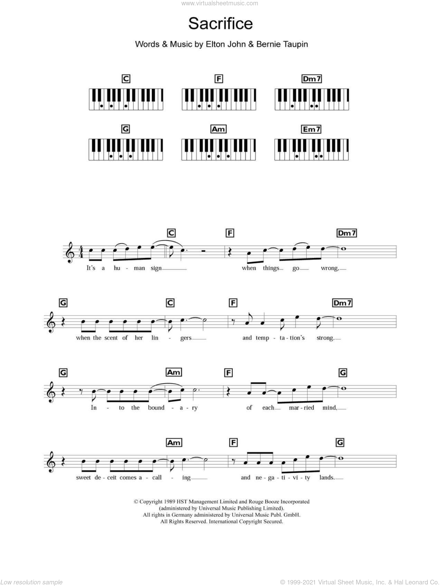 Sacrifice sheet music for piano solo (chords, lyrics, melody) by Elton John and Bernie Taupin, wedding score, intermediate piano (chords, lyrics, melody). Score Image Preview.