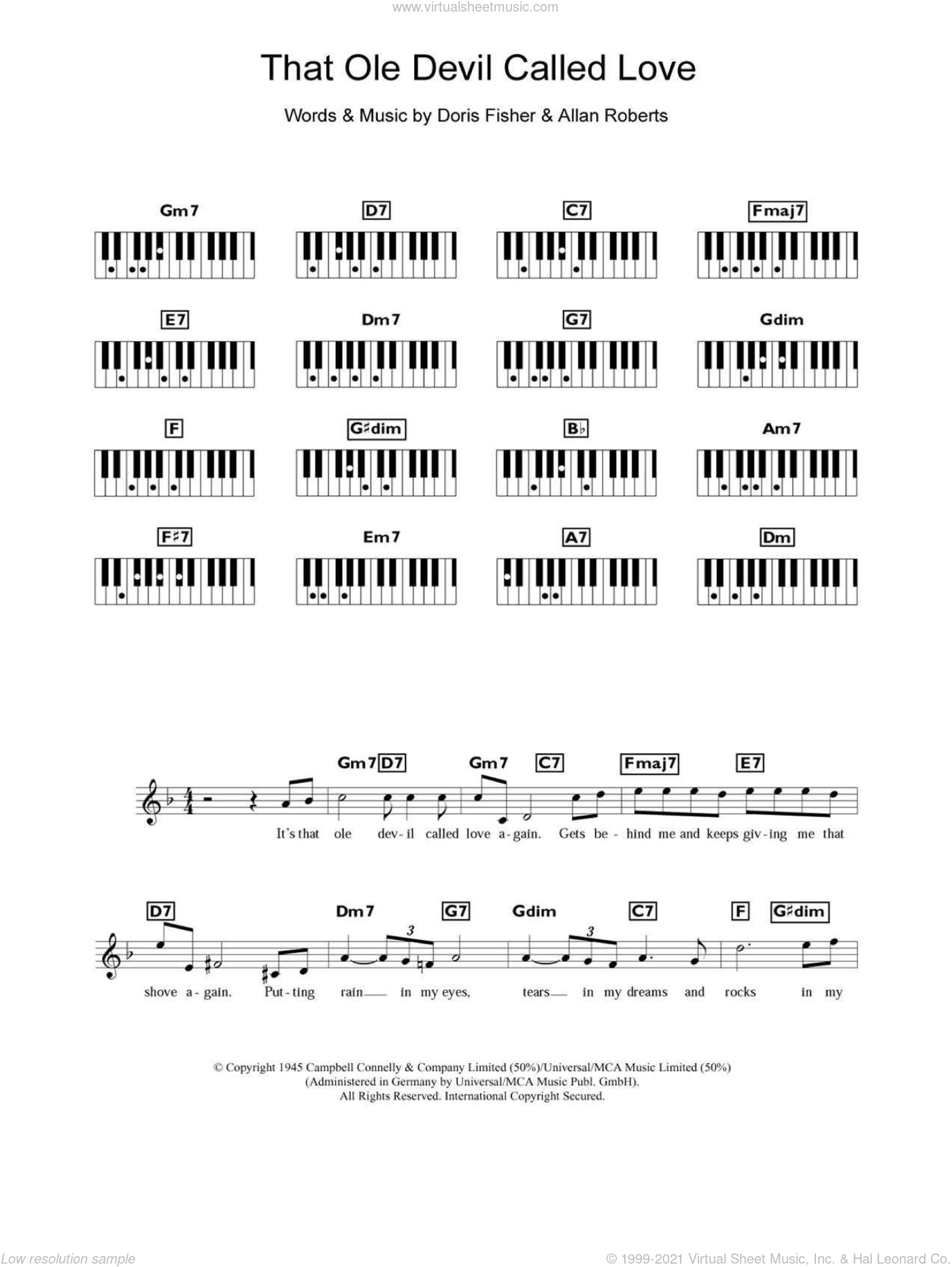 That Ole Devil Called Love sheet music for piano solo (chords, lyrics, melody) by Doris Fisher, Diana Krall and Allan Roberts. Score Image Preview.
