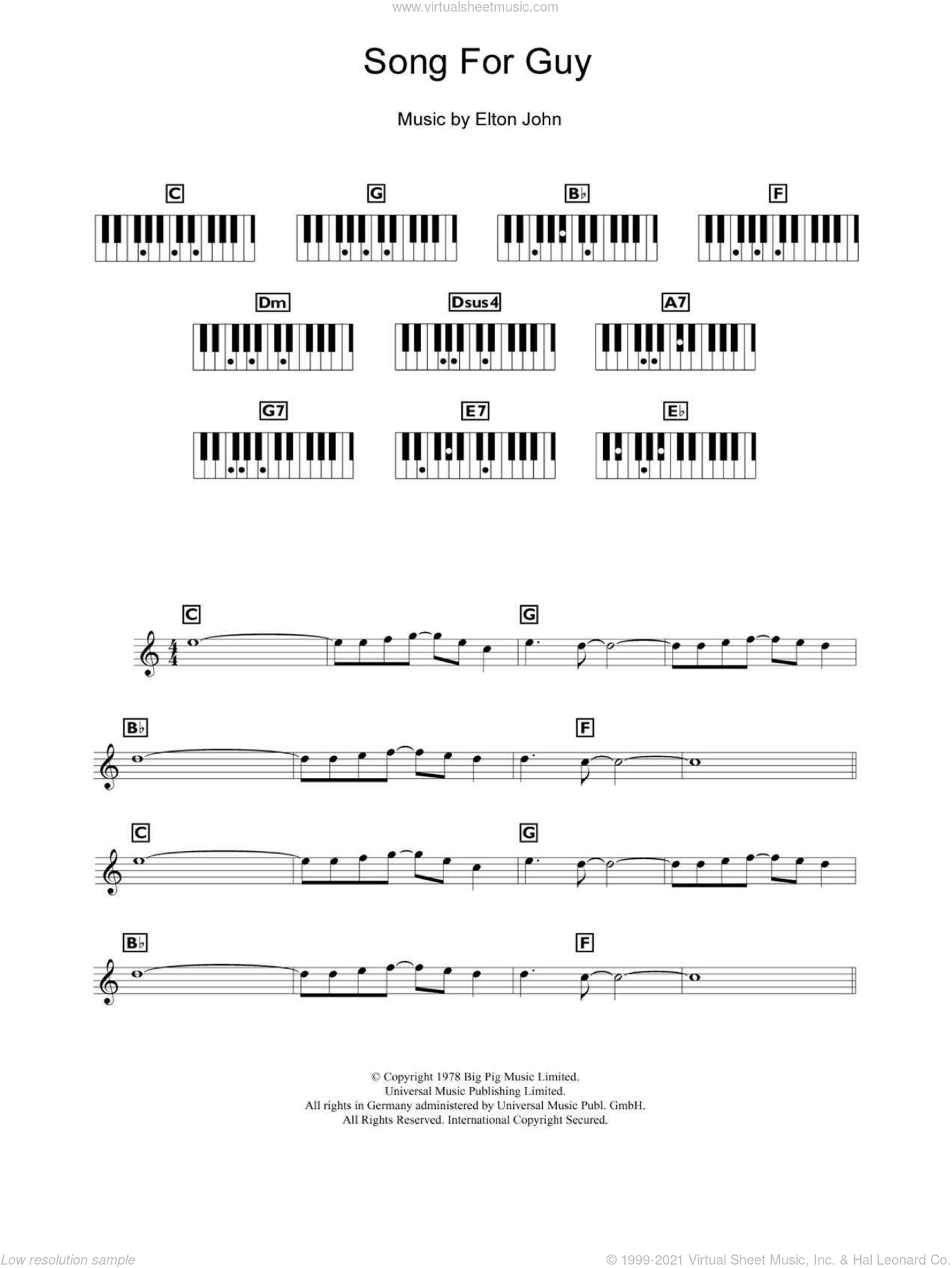 Song For Guy sheet music for piano solo (chords, lyrics, melody) by Elton John, intermediate piano (chords, lyrics, melody). Score Image Preview.
