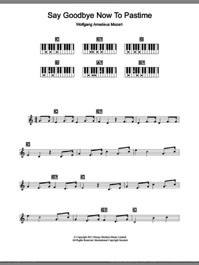 Say Goodbye Now To Pastime sheet music for piano solo (chords, lyrics, melody) by Wolfgang Amadeus Mozart and Dorsey Brothers Music Limited, classical score, intermediate piano (chords, lyrics, melody). Score Image Preview.