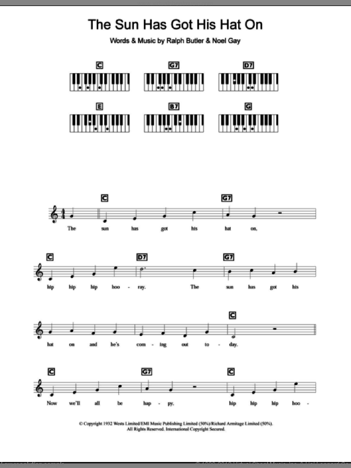 The Sun Has Got His Hat On sheet music for piano solo (chords, lyrics, melody) by Noel Gay and Ralph Butler, intermediate piano (chords, lyrics, melody)