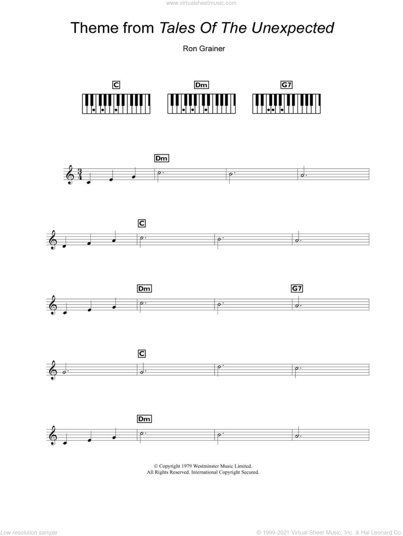 Theme from Tales Of The Unexpected sheet music for piano solo (chords, lyrics, melody) by Ron Grainer. Score Image Preview.