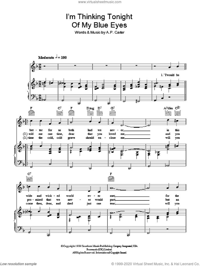 I'm Thinking Tonight Of My Blue Eyes sheet music for voice, piano or guitar by A.P. Carter