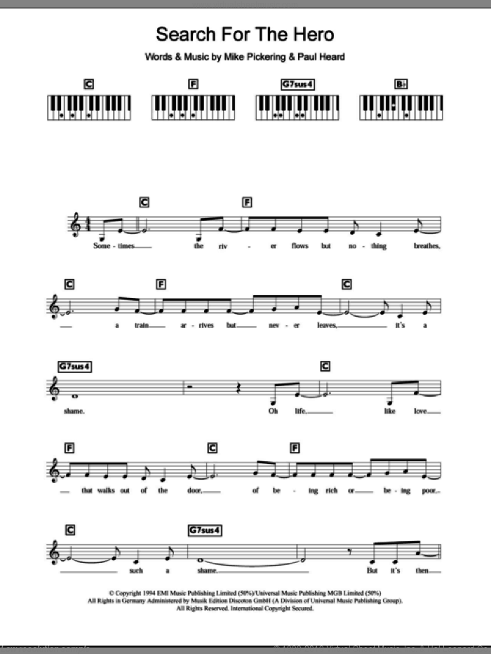 Search For The Hero sheet music for piano solo (chords, lyrics, melody) by Paul Heard, M People and Mike Pickering. Score Image Preview.