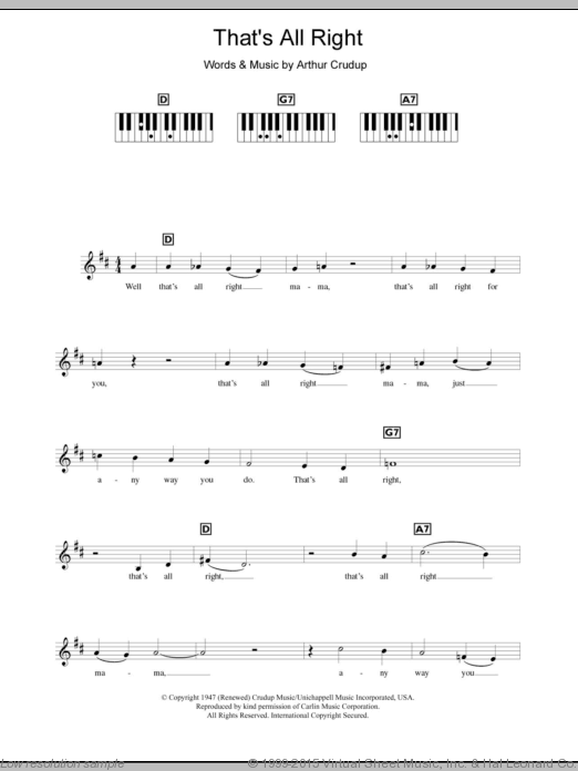 That's All Right sheet music for piano solo (chords, lyrics, melody) by Arthur Crudup