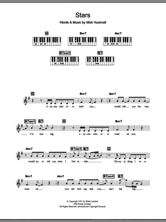 Stars sheet music for piano solo (chords, lyrics, melody) by Mick Hucknall and Simply Red. Score Image Preview.