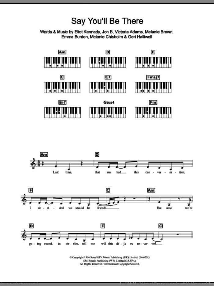 Say You'll Be There sheet music for piano solo (chords, lyrics, melody) by Victoria Adams, The Spice Girls, Eliot Kennedy, Emma Bunton and Geri Halliwell. Score Image Preview.