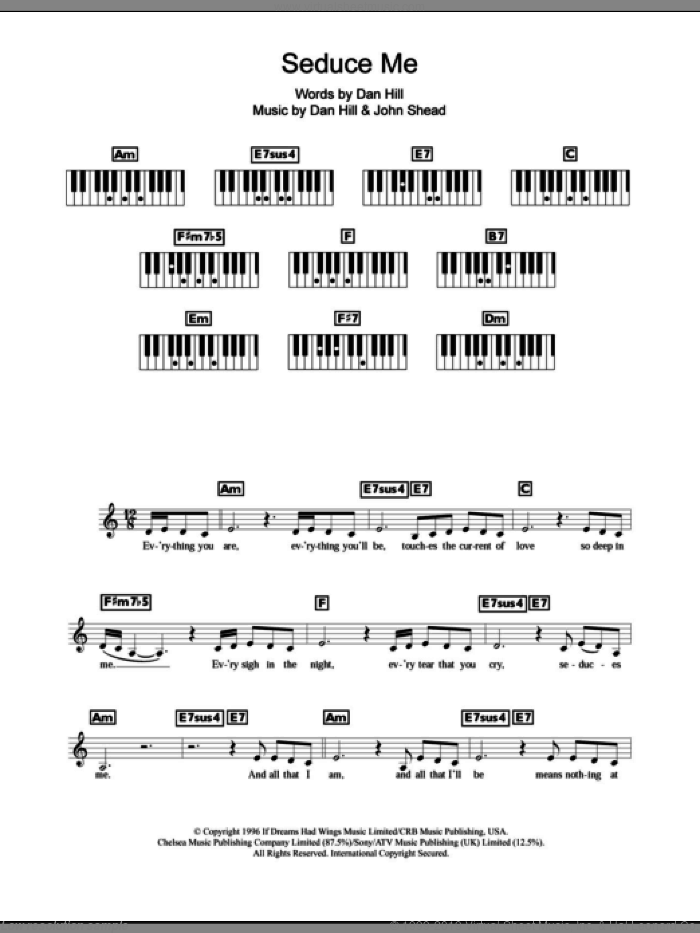 Seduces Me sheet music for piano solo (chords, lyrics, melody) by John Shea