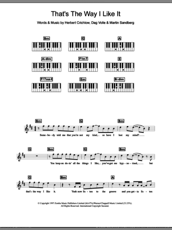 That's The Way I Like It sheet music for piano solo (chords, lyrics, melody) by Martin Sandberg