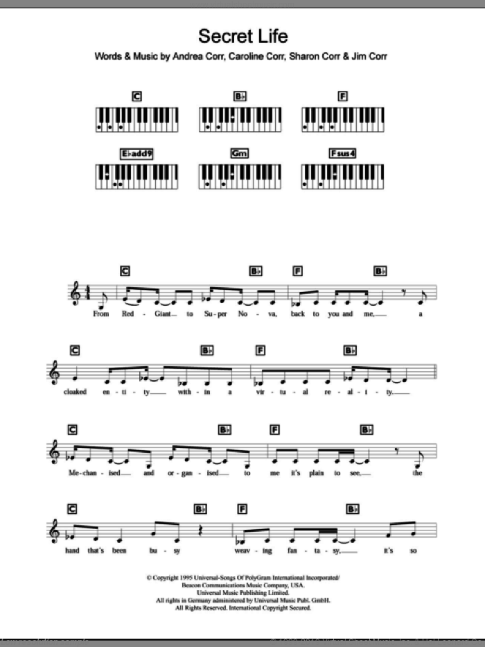 Secret Life sheet music for piano solo (chords, lyrics, melody) by Sharon Corr, The Corrs and Andrea Corr. Score Image Preview.