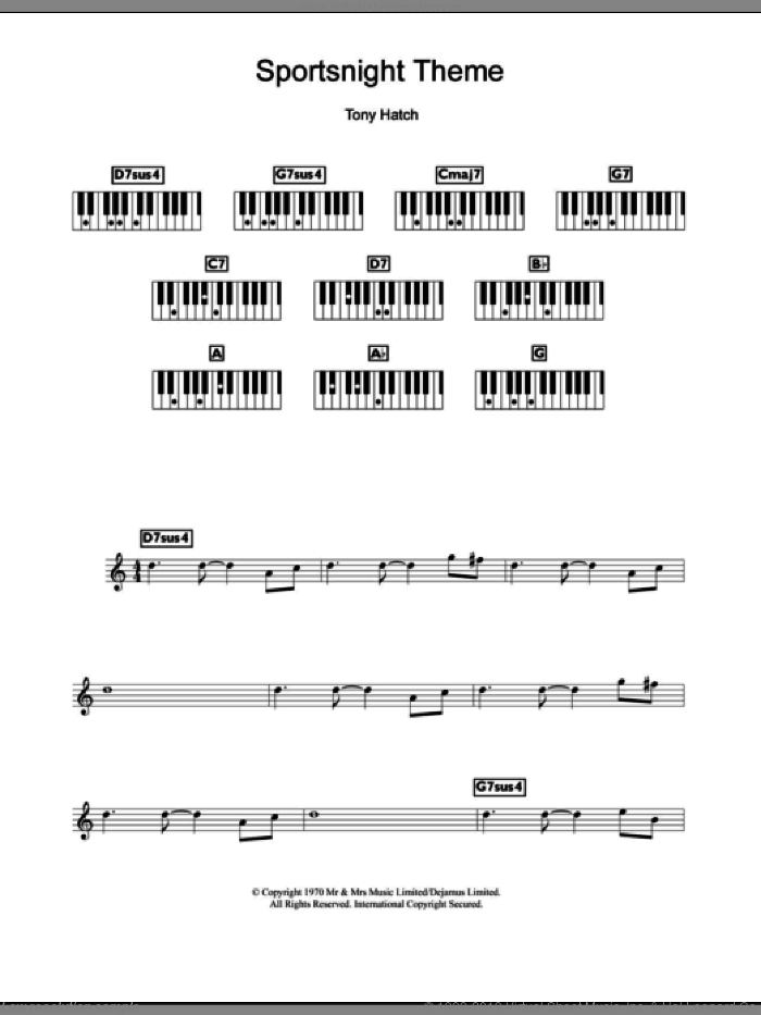 Sportsnight Theme sheet music for piano solo (chords, lyrics, melody) by Tony Hatch, intermediate piano (chords, lyrics, melody). Score Image Preview.