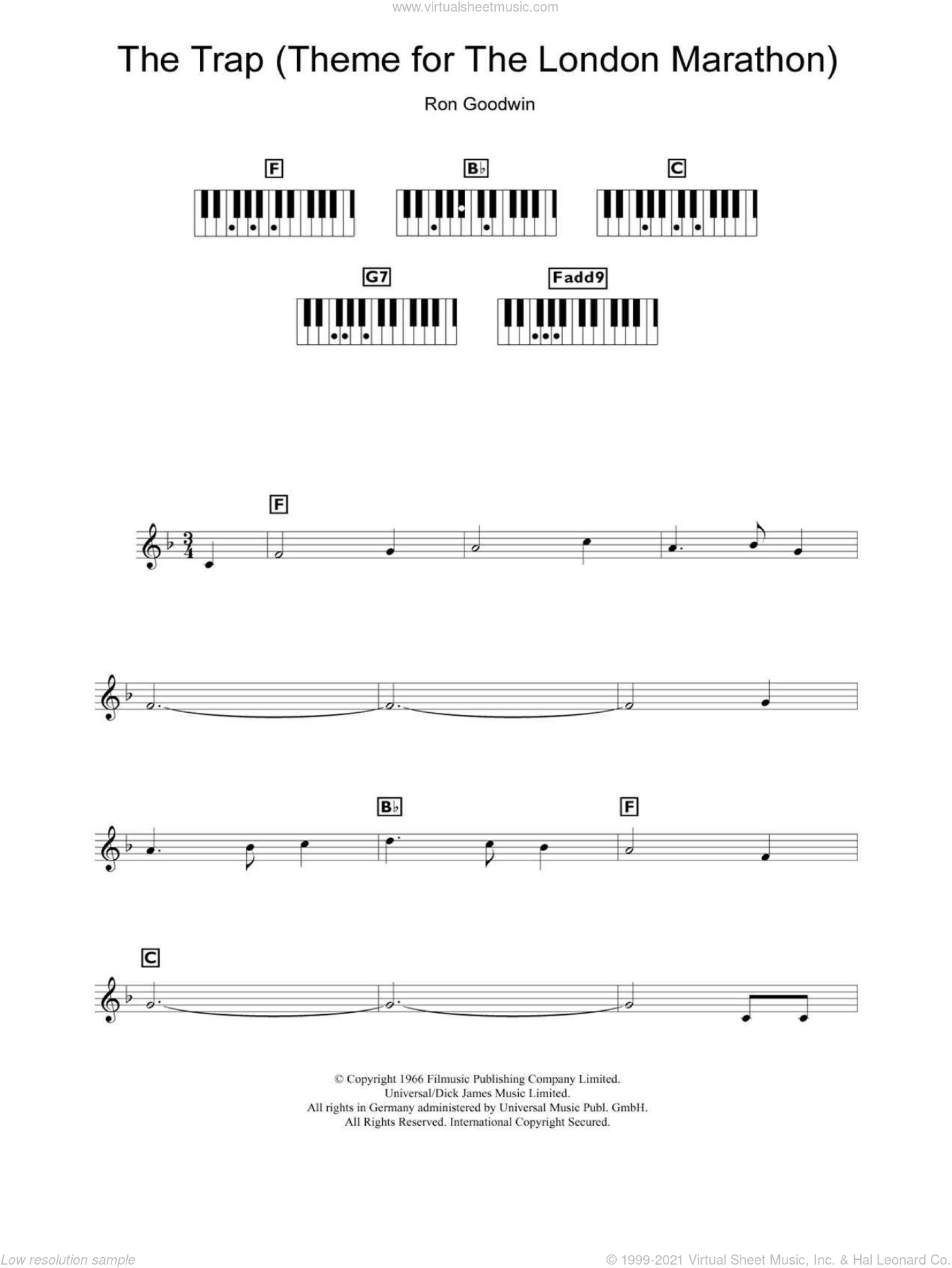 The Trap (Theme for The London Marathon) sheet music for piano solo (chords, lyrics, melody) by Ron Goodwin, intermediate piano (chords, lyrics, melody). Score Image Preview.