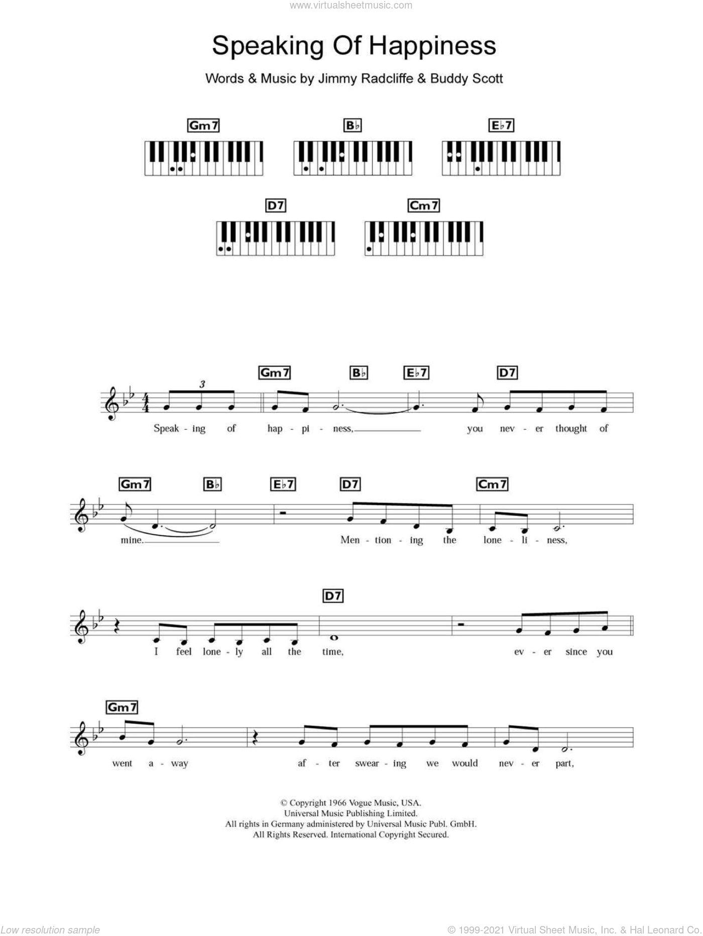 Speaking Of Happiness sheet music for piano solo (chords, lyrics, melody) by Jimmy Radcliffe. Score Image Preview.