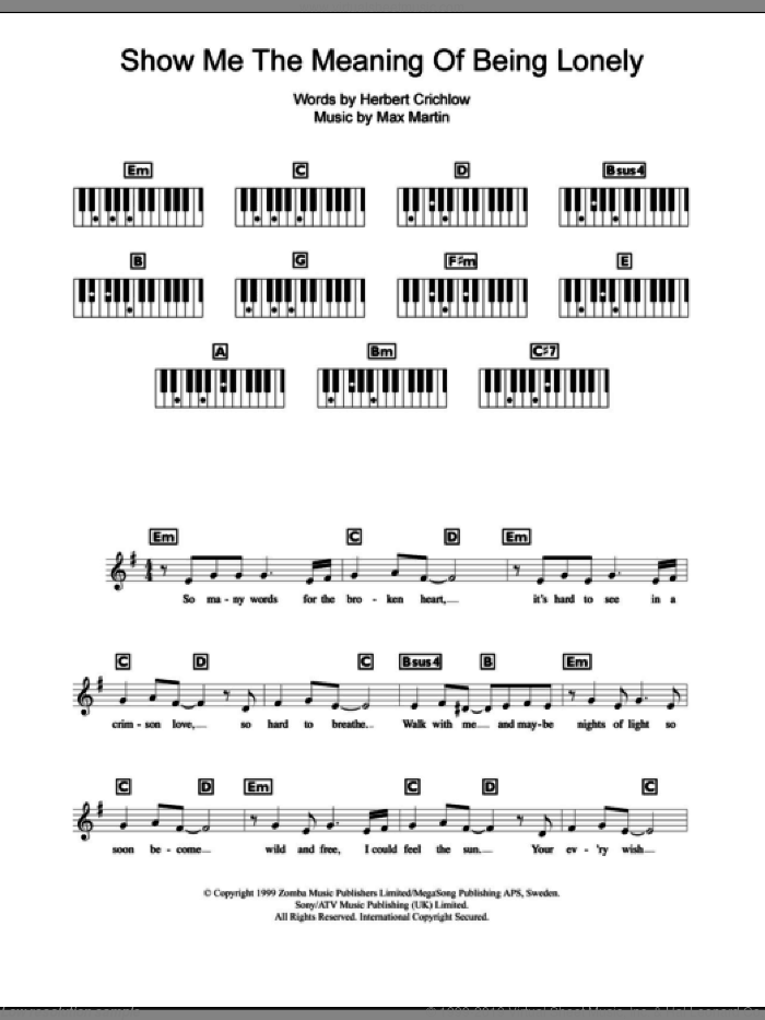 Show Me The Meaning Of Being Lonely sheet music for piano solo (chords, lyrics, melody) by Backstreet Boys, Herbert Crichlow and Max Martin, intermediate piano (chords, lyrics, melody)