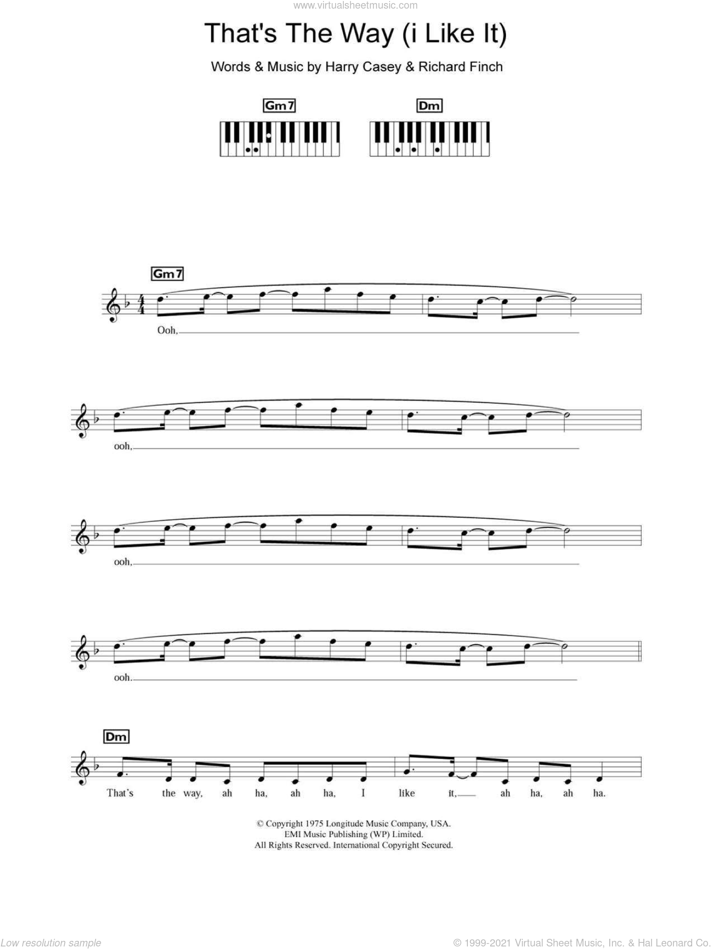That's The Way (I Like It) sheet music for piano solo (chords, lyrics, melody) by KC & The Sunshine Band, Clock, Harry Wayne Casey and Richard Finch, intermediate piano (chords, lyrics, melody)