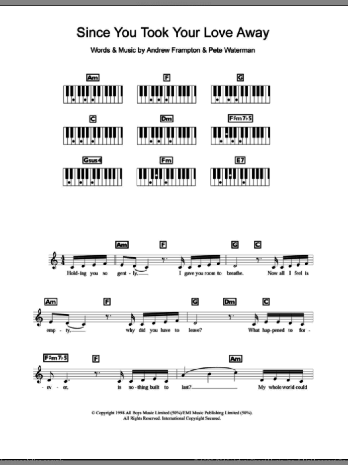 Since You Took Your Love Away sheet music for piano solo (chords, lyrics, melody) by Steps, Andrew Frampton and Pete Waterman, intermediate piano (chords, lyrics, melody). Score Image Preview.