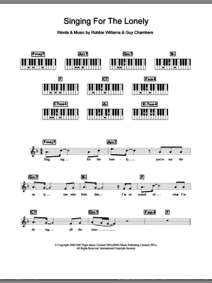 Singing For The Lonely sheet music for piano solo (chords, lyrics, melody) by Robbie Williams and Steps, intermediate piano (chords, lyrics, melody). Score Image Preview.