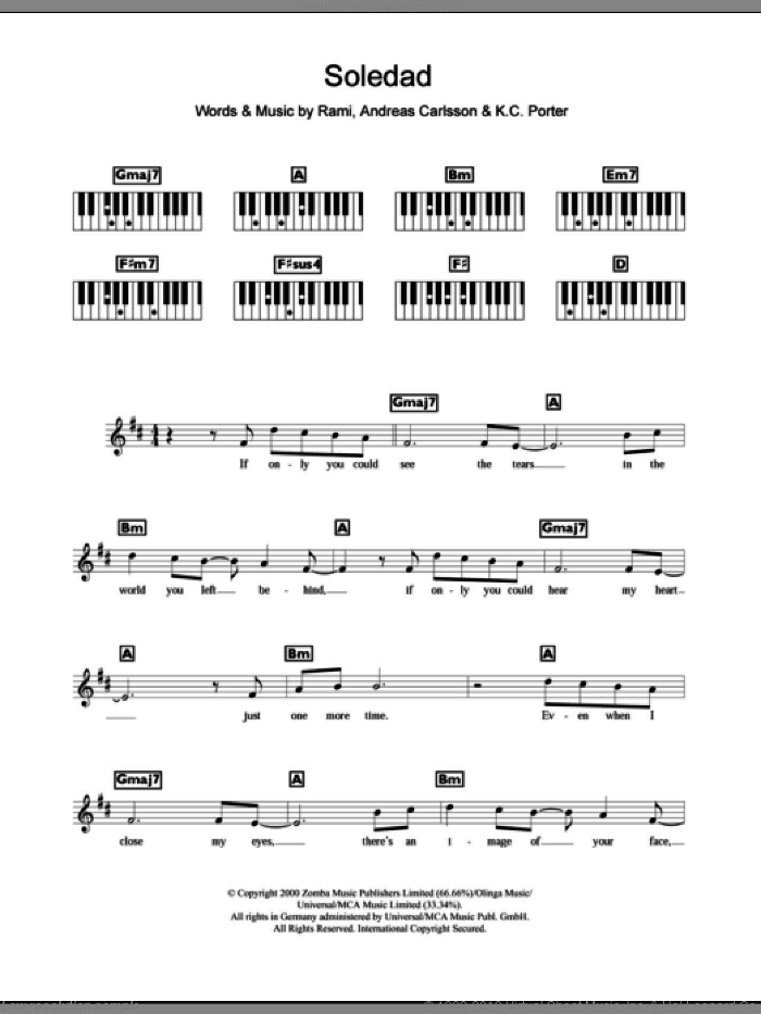 Westlife Soledad Sheet Music For Piano Solo Chords Lyrics Melody