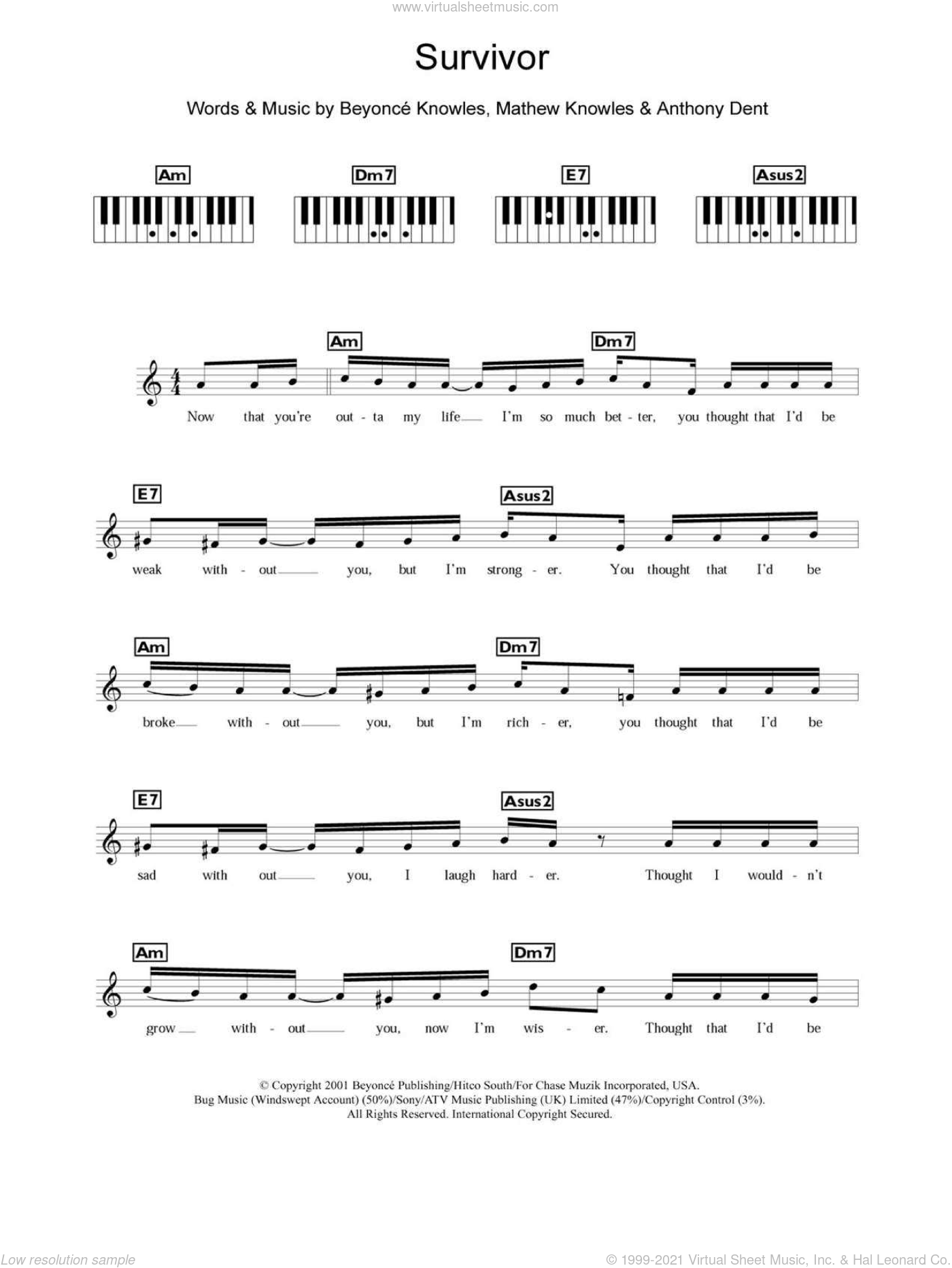 Survivor sheet music for piano solo (chords, lyrics, melody) by Destiny's Child and Beyonce Knowles, intermediate piano (chords, lyrics, melody). Score Image Preview.