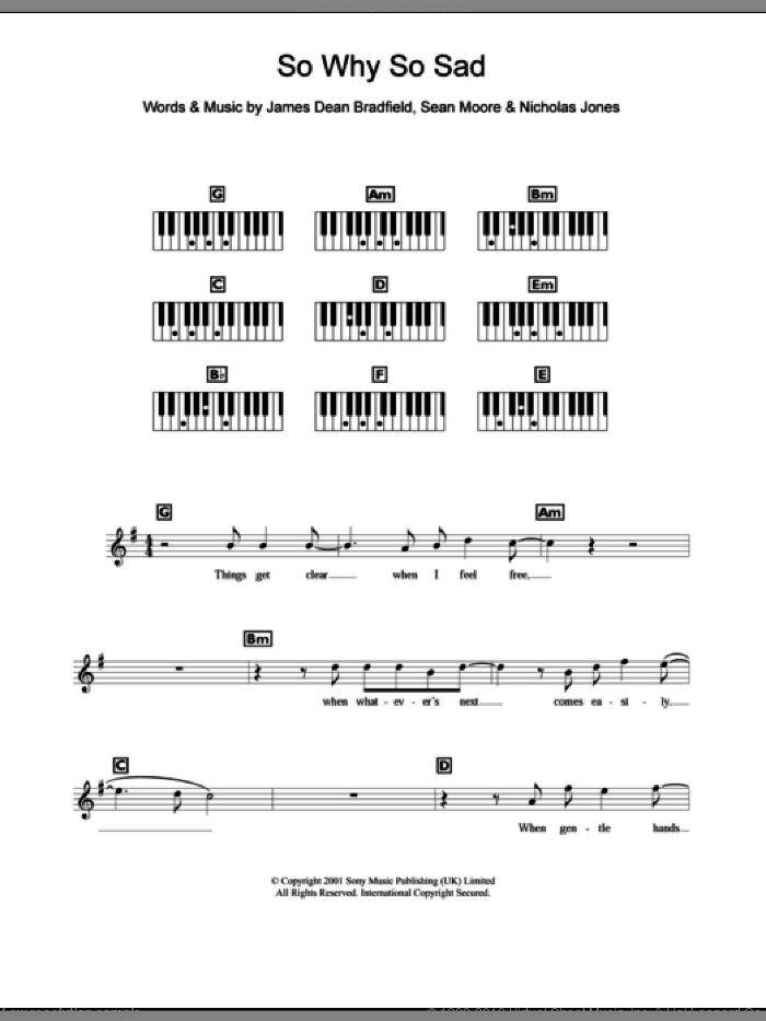 So Why So Sad sheet music for piano solo (chords, lyrics, melody) by Sean Moore and James Dean Bradfield. Score Image Preview.