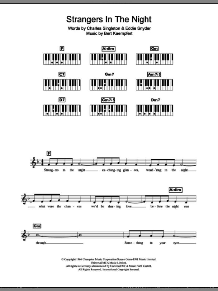 Strangers In The Night sheet music for piano solo (chords, lyrics, melody) by Frank Sinatra, Bert Kaempfert, Charles Singleton and Eddie Snyder, intermediate piano (chords, lyrics, melody)