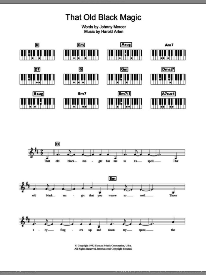 That Old Black Magic sheet music for piano solo (chords, lyrics, melody) by Frank Sinatra, Harold Arlen and Johnny Mercer, intermediate piano (chords, lyrics, melody). Score Image Preview.