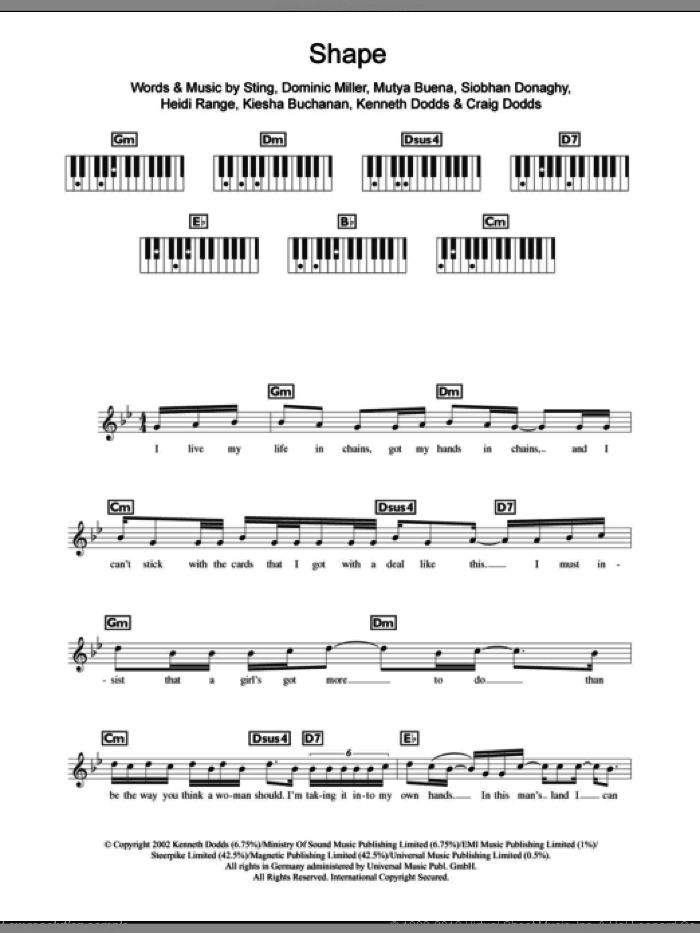 Shape sheet music for piano solo (chords, lyrics, melody) by Sugababes, Mutya Buena and Sting, intermediate piano (chords, lyrics, melody). Score Image Preview.