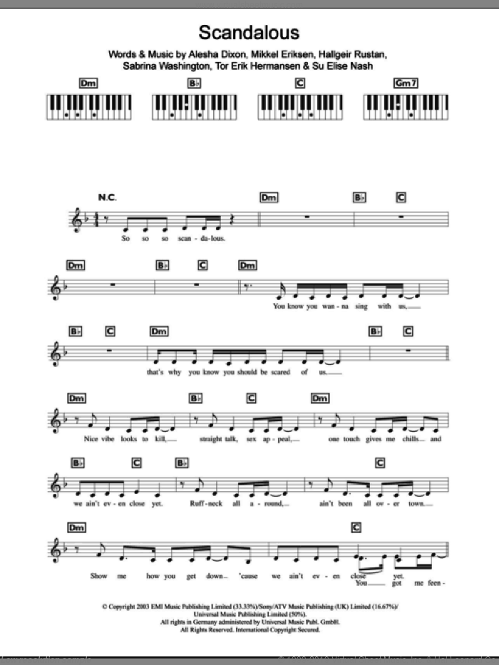 Scandalous sheet music for piano solo (chords, lyrics, melody) by Tor Erik Hermansen