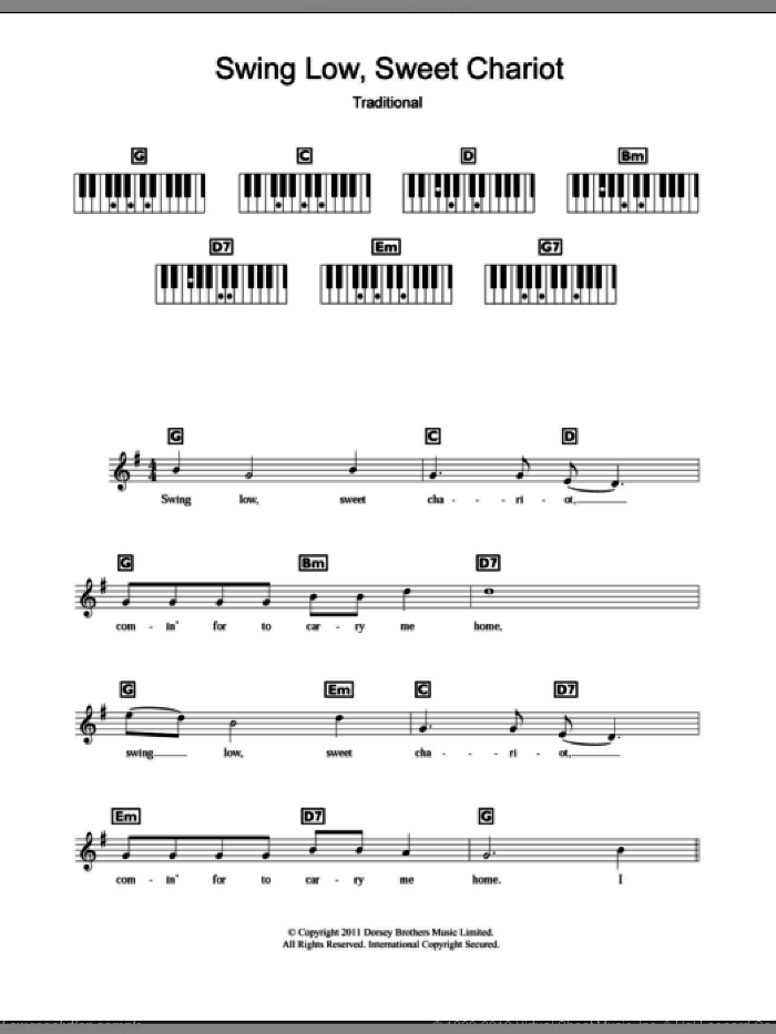 Swing Low, Sweet Chariot sheet music for piano solo (chords, lyrics, melody). Score Image Preview.