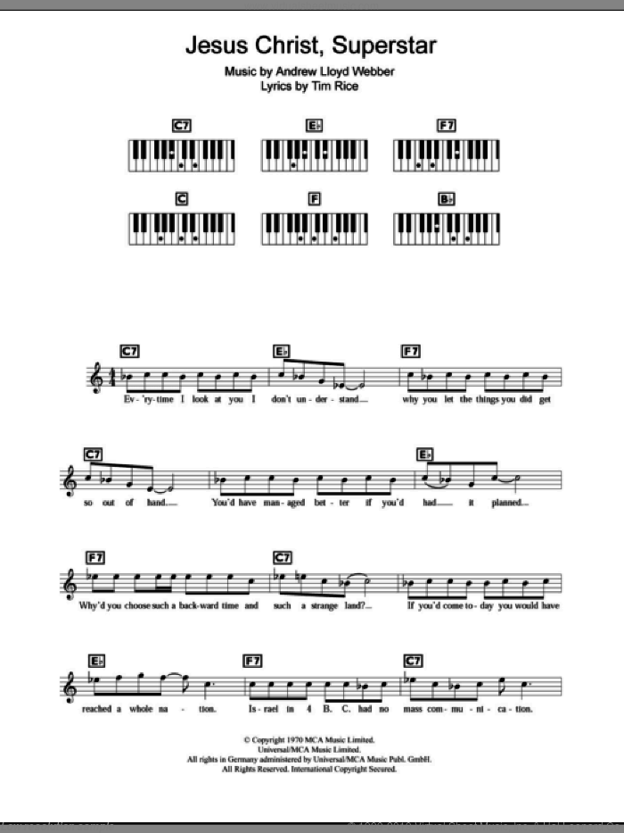Superstar sheet music for piano solo (chords, lyrics, melody) by Andrew Lloyd Webber, Jesus Christ Superstar (Musical) and Tim Rice, intermediate piano (chords, lyrics, melody)