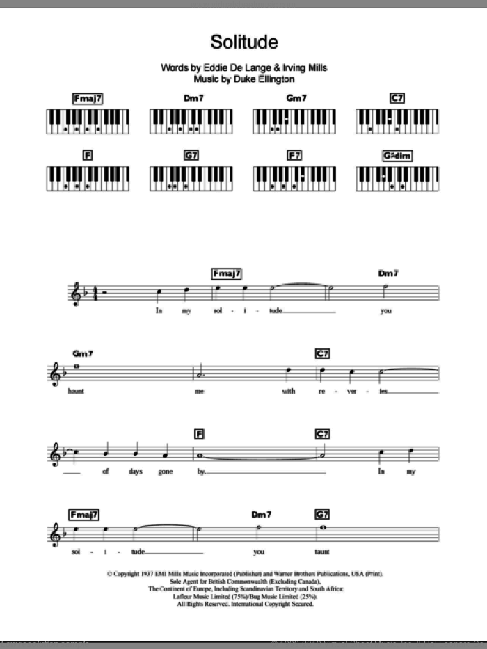 Solitude sheet music for piano solo (chords, lyrics, melody) by Irving Mills, Duke Ellington and Eddie DeLange