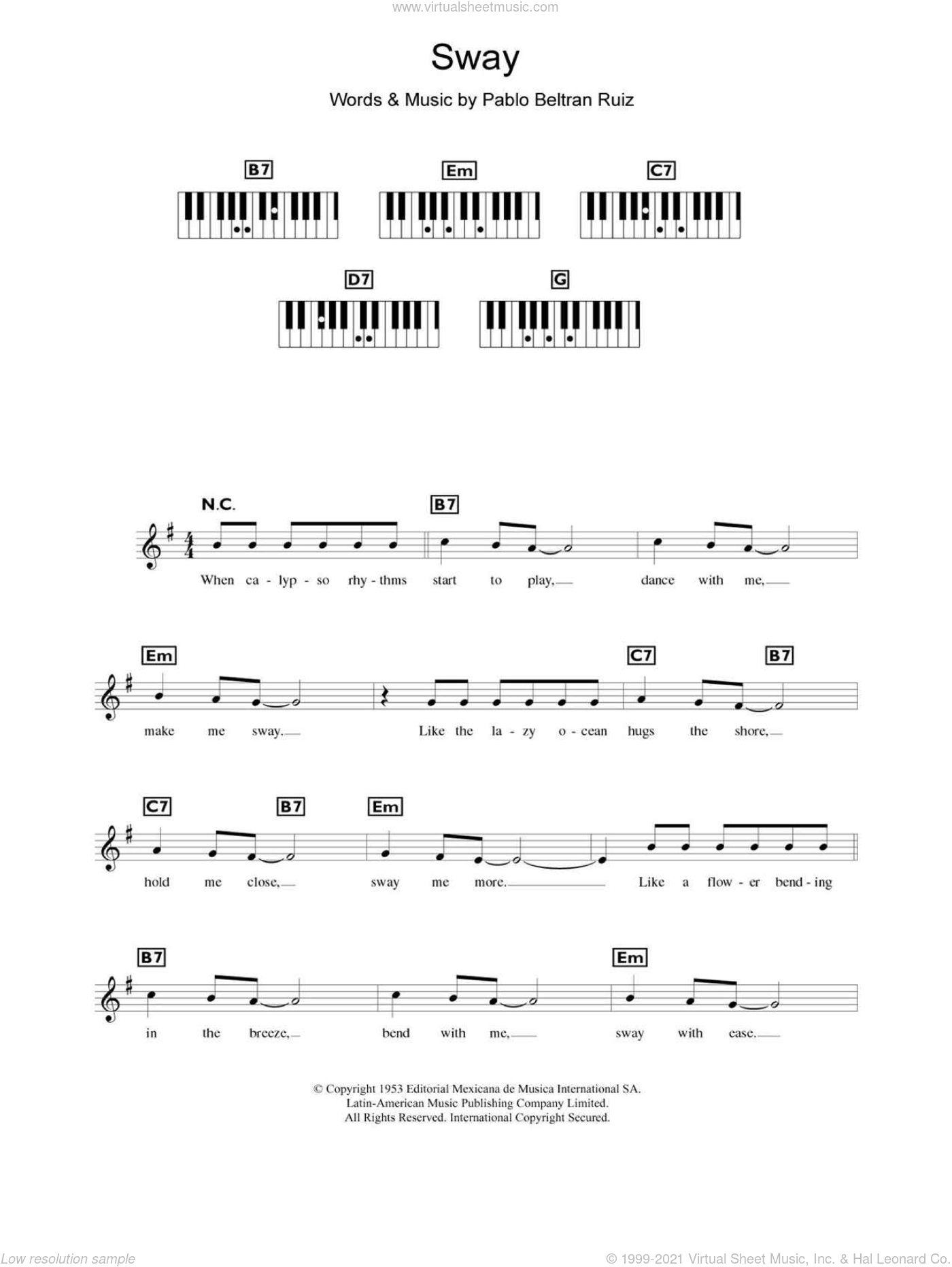 Sway (Quien Sera) sheet music for piano solo (chords, lyrics, melody) by Dean Martin and Pablo Beltran Ruiz. Score Image Preview.