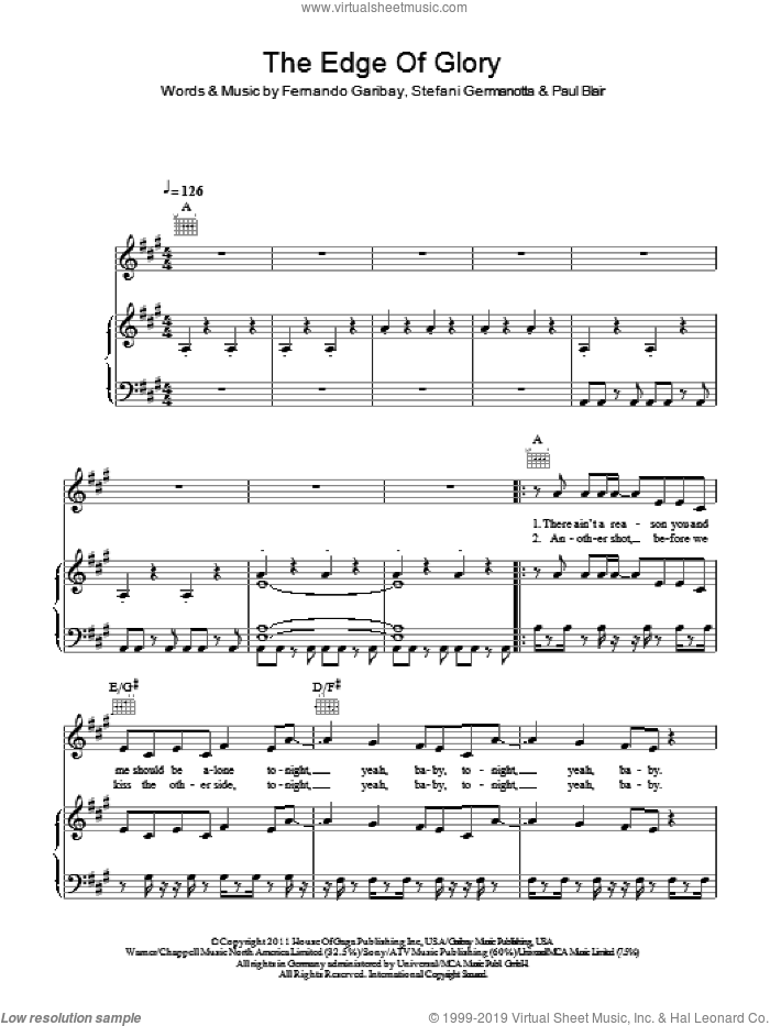 The Edge Of Glory sheet music for voice, piano or guitar by Lady GaGa, Fernando Garibay and Paul Blair, intermediate