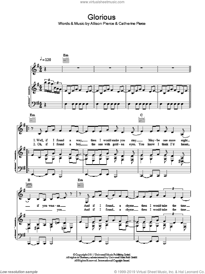 Glorious sheet music for voice, piano or guitar by Catherine Pierce. Score Image Preview.