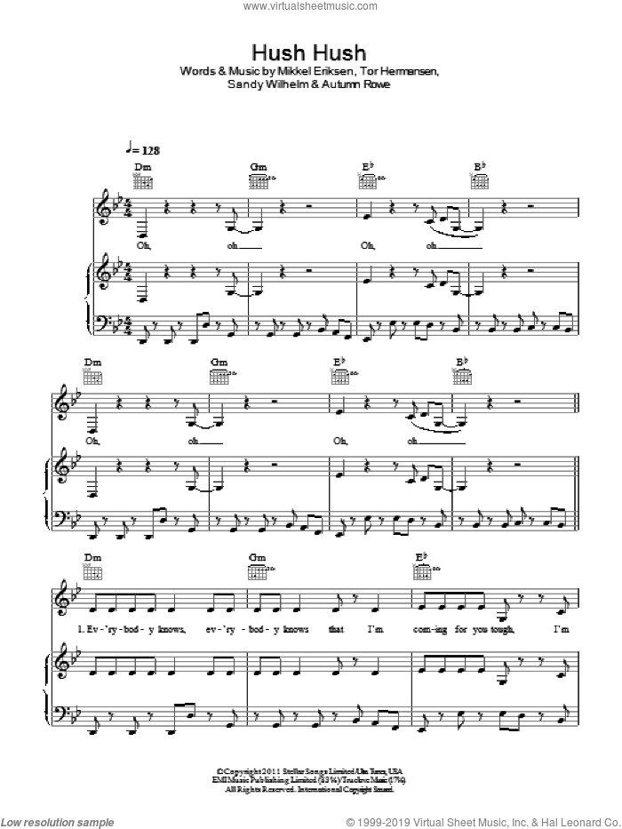 Hush Hush sheet music for voice, piano or guitar by Alexis Jordan, Autumn Rowe, Mikkel Eriksen and Sandy Wilhelm, intermediate skill level